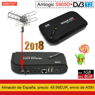 DVB-T2/T Satellite TV Receptor S905D TV Box Android 7.1 Quad Core 1GB+8GB 4K HD