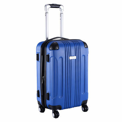 "GLOBALWAY Expandable 20"" ABS Carry On Luggage Travel Bag Trolley Suitcase Blue"