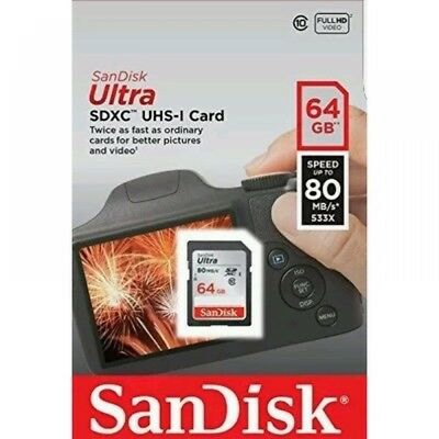New SanDisk 64GB Ultra SDXC SD Card Class 10 UHS-I Memory Card 80MB/S For Camera