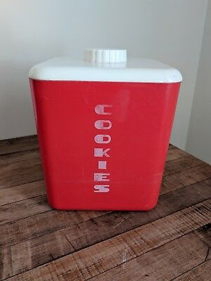 1950's Vintage Lustro Ware Red Cookies Container Canister Mid Century