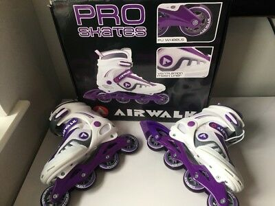 Airwalk White Purple Pro Skates Roller Blades Boxed UK 6 Rare Retro With Tag