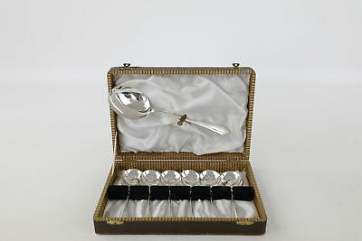 7 x Vintage 1946 Hallmarked Sheffield Solid Silver Soup Spoons BOXED 216g