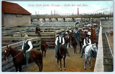 CHICAGO Illinois IL UNION STOCK YARDS Cattle Run and Pens c1910s Unused postcard
