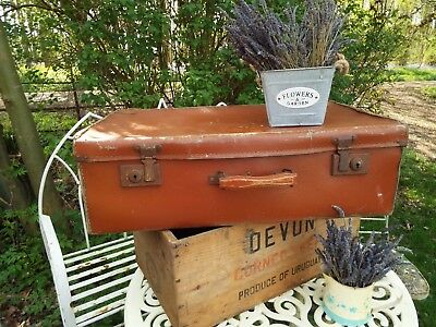 Large Vintage 1940's Brown Suitcase Storage Stage Prop Wedding Shabby Chic