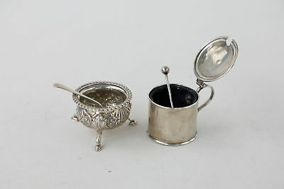Vintage Hallmarked .925 Sterling Silver Salt & Mustard With Spoons 135g