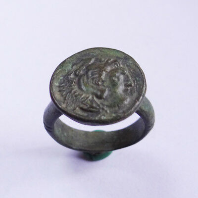 Macedonian Ancient Artifact Bronze Ring With Alexander The Great And Lion Skin