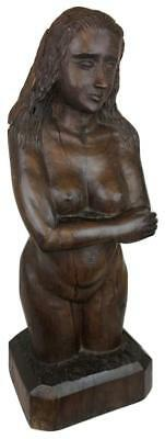 Old 19thC American Folk Art Carved Wood Statue Nude Woman Bust F. Carter Signed