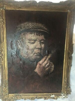 Oil on Board - Old Man Smoking - Northern Art Painting - 58cm x 44cm -