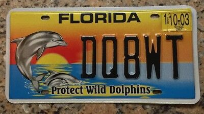 2003 Vintage Florida License Plate- Protect Wild Dolphins-Tag Number-DQ8WT