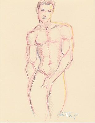 Nude Male Pencil Drawing-  Fine Art Direct from + Signed by Artist