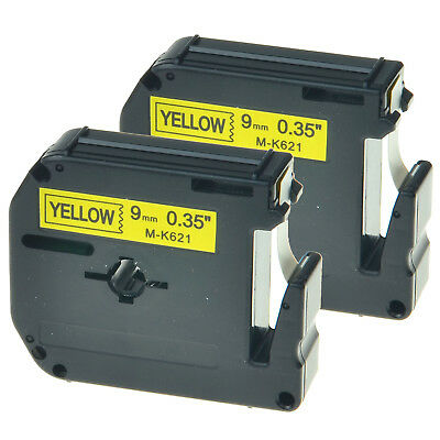 Lable Maker M-K621 MK621 Black on Yellow Tape For Brother P-touch 9mm 3/8 2PK