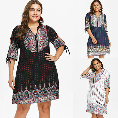 a469d0c0ee1 Plus Size Ethnic Baroque V Neck Dress Women Casual Tunic 3 4 Sleeve Party  Dress
