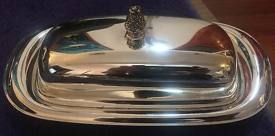 WM ROGERS,Covered BUTTER DISH,Silver,987,Pineapple Finial,RARE