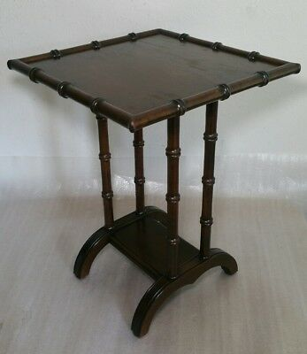 Vintage MCM Faux Bamboo (Wood) End Table Plant Pedestal Stand Chinoiserie
