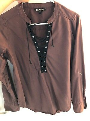 Express Laced Up V Neck Top Size Small Maroon