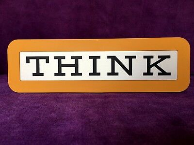 Vintage Ibm Think Plaque - Yellow - Nib - (Blue & Red Also Available)