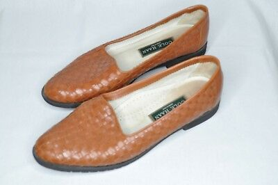 f25555b8402 Cole Haan Womens Made in Italy brown woven leather flat shoes slip-on Sz 9B