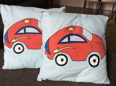 2 Car Square Cushions (Stripey) For Boys Bedroom 26cm X 26cm