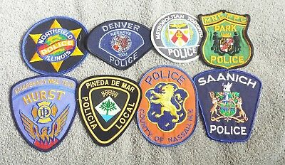 Lot of 8 Police Sheriff Fire EMS Patches Various Agencies 8/18 - 003