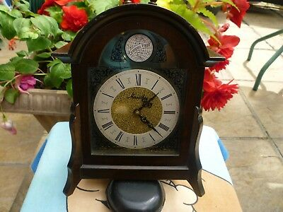 Mauthe 8 Day Mantel Clock With Bell Wood Case Brass Dial .