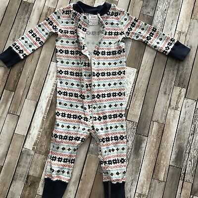 Hanna Andersson 75 12-18 Months Pajamas Unisex Snowflakes Pattern