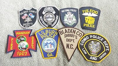Lot of 8 Police Sheriff Fire EMS Patches Various Agencies 8/18 - 004