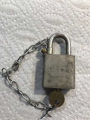 Vintage American Lock USA Hardened Steel Series 200 US Military Padlock With Key