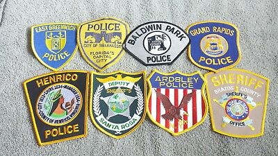 Lot of 8 Police Sheriff Fire EMS Patches Various Agencies 8/18 - 007