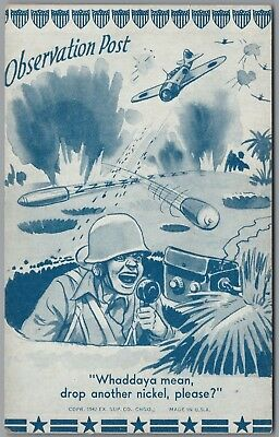 """1942 Wwii Military Comic """"observation Post"""" Missiles, Ex Sup Co Exhibit Card"""