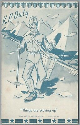 """1942 Wwii Military Comic """"k.p. Duty"""" Picking Up Trash,ex Sup Co Exhibit Postcard"""