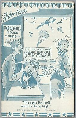 """1942 Wwii Military Comic """"glider Corps"""" Parachute, Ex Sup Co Exhibit Postcard"""