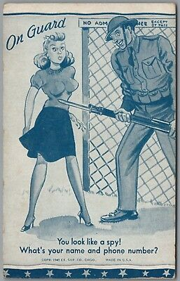 """1941 WWII MILITARY COMIC """"ON GUARD"""" Look Like a Spy,  EX SUP CO EXHIBIT CARD"""