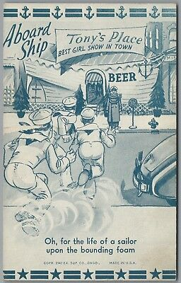 """1942 Wwii Military Comic """"aboard Ship"""" Girl Show, Ex Sup Co Exhibit Postcard"""