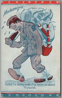 """1941 WWII MILITARY """"MECHANIZED"""" 70 lb BACKPACK, EX SUP CO EXHIBIT ARCADE CARD"""