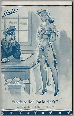 """1941 Wwii Military Comic """"halt!"""" Woman In Torn Dress, Ex Sup Co Exhibit Card"""