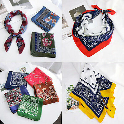 Women Small Vintage Head Neck Hair Tie Band Silk Feel Satin Square Scarf