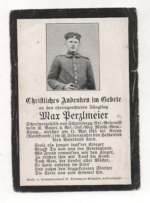 German Ww1 Death Card-Max Perzlmeier-2 Rir Mg Kmp-Fell 11 May 1915 Arras