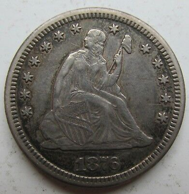 1876-CC Liberty Seated Quarter 25c