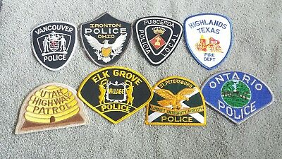 Lot of 8 Police Sheriff Fire EMS Patches Various Agencies 8/18 - 010