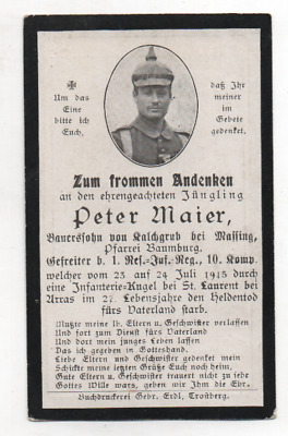 German Ww1 Death Card-Peter Maier-1 Rir 10 Kmp-24 Jul1915 St Laurent Arras