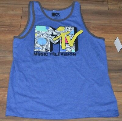 f4ce5d4d049c4 MTV Tank Top Mens Officially Licensed Music Television Sleeveless T-Shirt  Tee