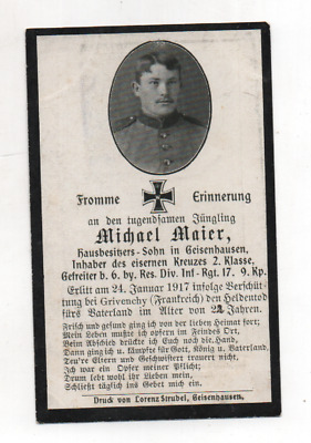 German Ww1 Death Card-Michael Maier-17 Rir 9 Kmp-Died 24 Jan1917 Grivenchy