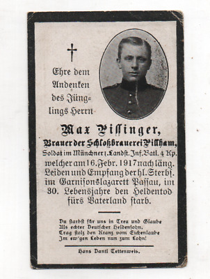 German Ww1 Death Card-Max Pissinger-1 Inf Btln 4 Kmp-Fell 19 Feb 1917 Passau