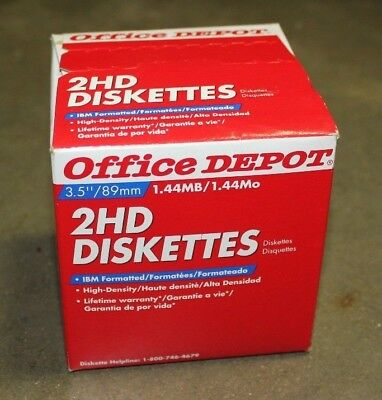 "Office Depot 2HD Floppy Diskettes 3.5"" 1.44MB High Density (25) New in Box"