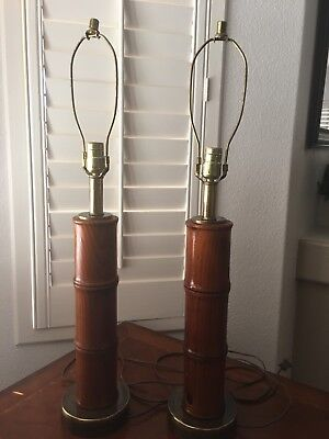 Pair of Vintage Mid Century Wood & Brass Table Lamps~Set Of 2