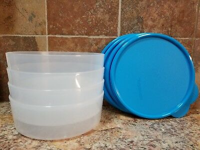 NEW Tupperware Big Wonders Bowls Set of 4 Blue Food Containers Cereal Salad