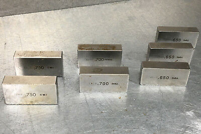 """DoAll Precision Gage Block .650"""" .700"""" .750"""" Set-Up Fixture (Lot of 7)"""
