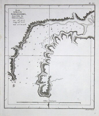 1785 Unalaska Island Alaska map Karte Kupferstich antique print James Cook