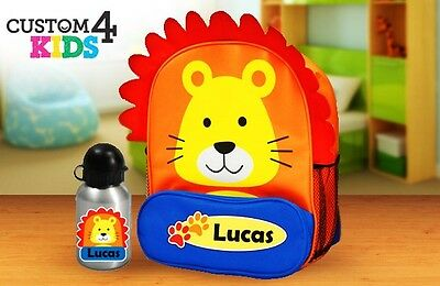 Personalised Kids Lion Animal Backpack and drink bottle