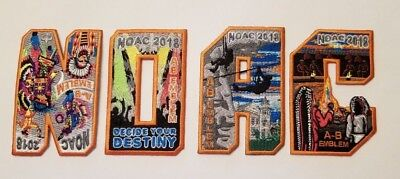 NOAC 2018  COMPLETE set of A-B Emblem patches that spell NOAC  Boy Scout